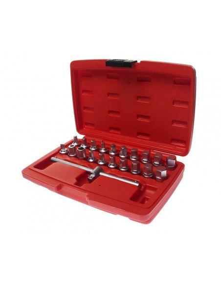 JTC-JW0896 Набор головок для отворачивания масляных пробок 21 предмет