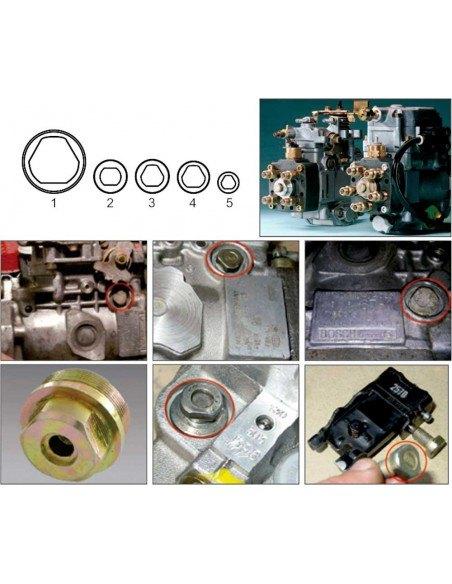 JTC-4493 Набор головок для ТНВД специальных BOSCH 5 предметов