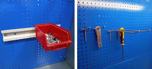 Кронштейн для пластиковых ящиков Вэлмет для установки на перфорированный экран для слесарных верстаков и столов.