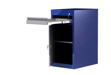 Тумба ВТ1 имеет верхний выдвижной ящик и отделение с дверью и полкой.