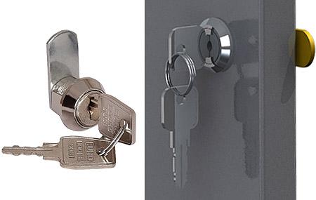 Тумба Вэлмет ВТ1 оборудована двумя замками Euro-Lock, запирающими лоток и дверцу