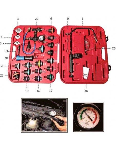 JTC-4842A Набор инструментов для тестирования давления в радиаторе 27 предметов в кейсе купить во Владимире.